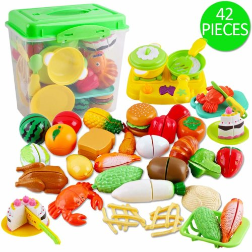 deAO Pretend 42 Piece Play Food Cutting Toy Kitchen Set - Educational Learning for Kids with Storage Box