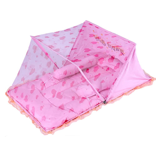 Foldable Cribs with Insect Netting Mosquito Net with Sleeping Pad-Pink
