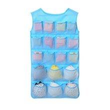 24-Pocket Double-sided Underwear Bra Socks Hanging Organizer Net Yarn Style Blue