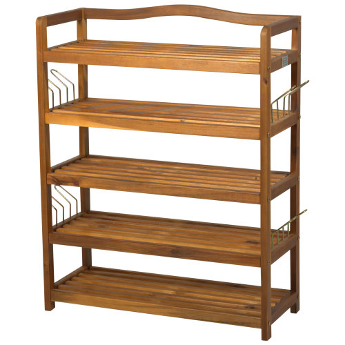 Homcom Acacia Wood 5-Tier Shoe Storage Organiser | Hallway Shoe Rack