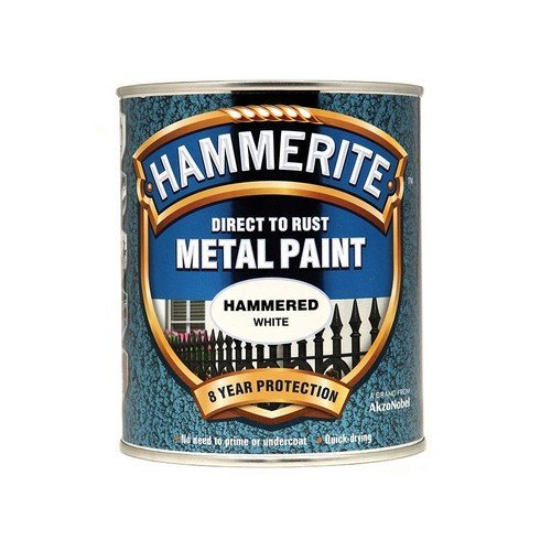 Hammerite HFW750 Direct to Rust Hammered Finish Metal Paint White 750ml