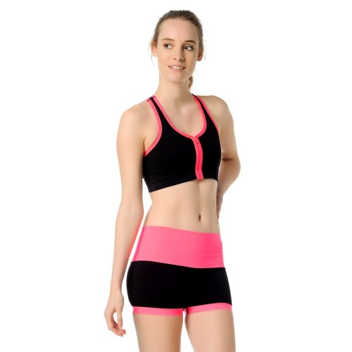 Jerf- Womens-Santos - Black and Neon Pink - Sport Bra With Zip