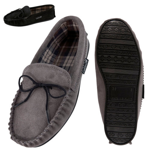 90ef72ea9f374 Lambland Mens Fabric Lined Hard Sole Moccasin Slippers