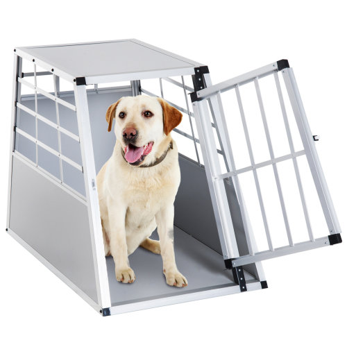 PawHut Aluminum Dog Cage Pet House Crates Kennel Dog Carrier Transport Box Traveling Use Travelling Carrier Animal Training