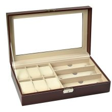 Storage Box for Watch & Eyeglasses Display Leather Case-Brown