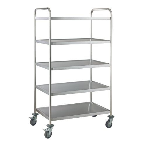 5-Tier Serving & Catering Trolley | 5-Layer Stainless Steel Trolley