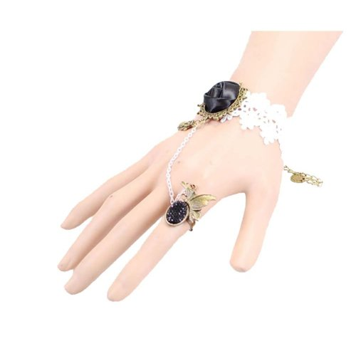 Complex Gulei Si Crystal Gemstone Bracelet Ring Jewelry, Black Rose