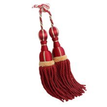 2 Pieces Curtain Tassel Hanging Ball Decorative Buckles/Holders, Red(69cm)