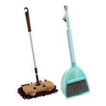 Children Housekeeping TOY Cleaning Play Set-Children Broom Dustpan Mop Suit, Green&Brown