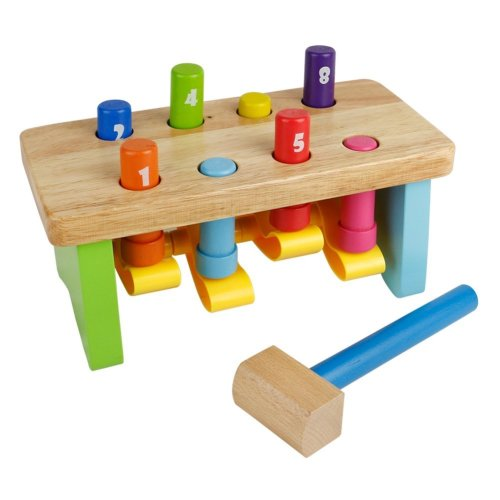 Nuheby Wooden Toy Pounding Workbench With Wooden Pegs Hammer Bench Educational Toy For Kids Boys Girls 18 Months