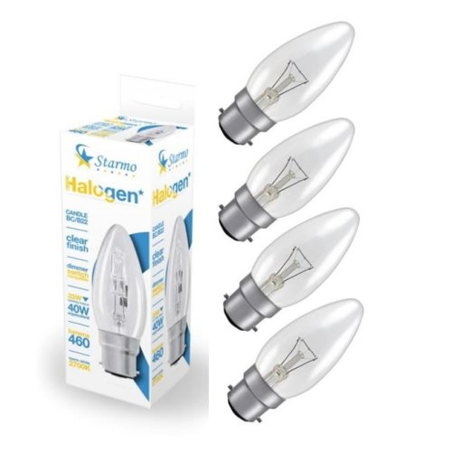 4 X Starmo 33W = 40W Bc/B22 Candle Long Life Clear Eco Halogen Light Bulbs Dimmable Energy Saving 460 Lumens