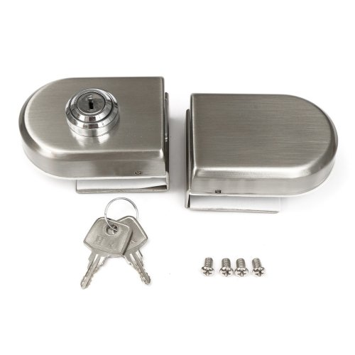 Stainless Steel 12mm Glass Door Lock Double Swing Hinged Frameless Door Lock