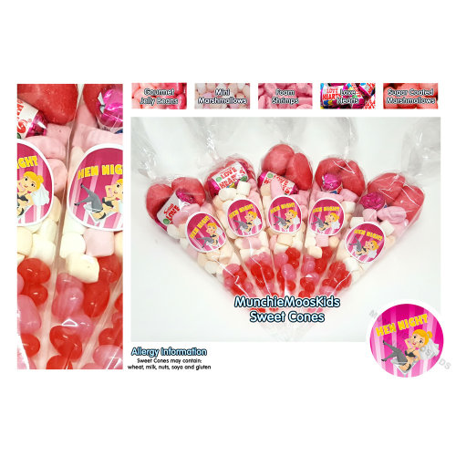 10 x Pre Filled Hen Night Sweet Cones 50 grams - Party Bag Sweets