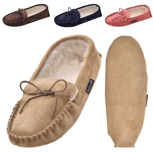 Lambland Ladies Suede Wool Lined Moccasin Slippers