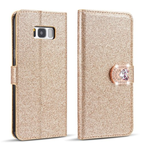best loved 0d5df 47018 Samsung Galaxy S7 Edge Case,Luxury Bling Glitter [Magnetic Closure] PU  Leather Flip Wallet [Love Diamond Buckle] Folio Inner Soft TPU Case with...