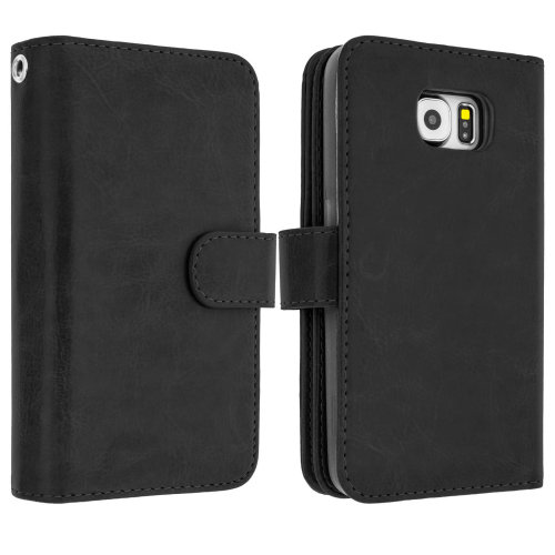 lowest price b5dca a4e14 Flip wallet cover removable book case for Samsung Galaxy S6 Edge - Black