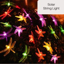20 LED Dragonfly Colorful String Lights Solar Powered Night Light Garden Home Decor