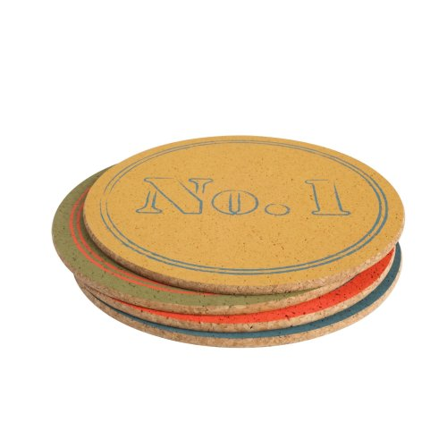 TG Colour By Numbers Set of 4 Assorted Round Table Mats In Cork 15401