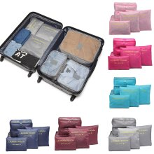 Miss Lulu 6Pcs Clothes Underwear Socks Packing Travel Luggage Organizer Bag Cube Storage