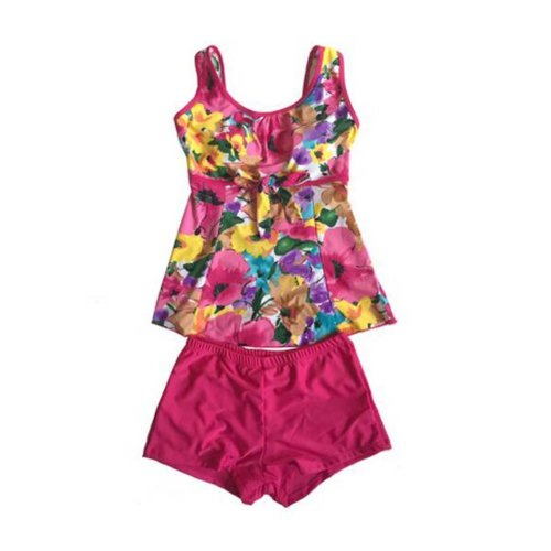 Colorful Middle-aged Mother Swimsuit/Chest Gathered Swimming Apparel