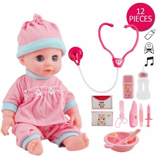 deAO Interactive Baby Doll and Doctors Kit Play Set with Medical Accessories, Light and Sound Functions – Great Gift for Kids