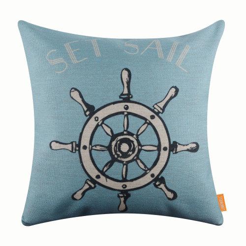 """18""""x18"""" Modern Set Sail Burlap Pillow Cover Cushion Cover"""