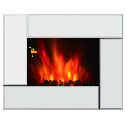 HOMCOM 1800W Wall Mounted Electric Fireplace Heater 7 Coloured LED Lighting Fire Glass Screen with Pebble Effect & Remote Control