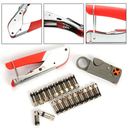 F-Type Compression Stripper Tool Coaxial Crimping Crimper+20 RG6 Connectors New