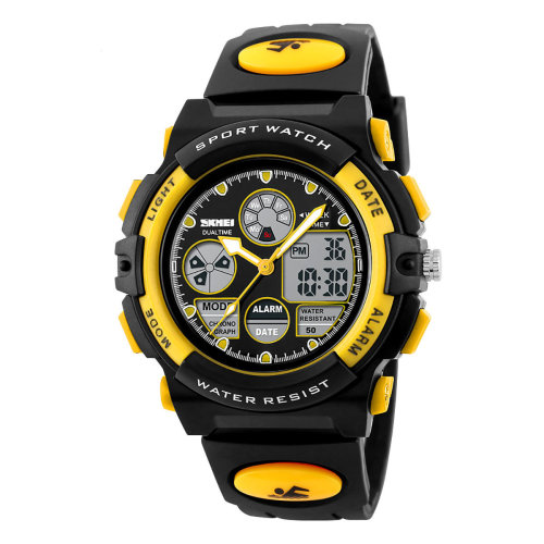 SKMEI Black And Yellow Sports Watch Kids 50m Water Resistant Dual Time Display AD1163