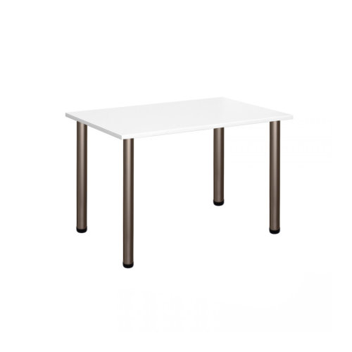 Computer Desk Office Dining Table Workstation Satin Legs White Top 120x80cm