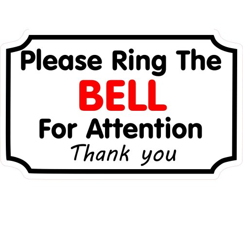 1 x Please Ring The Bell For Attention Sticker House Shop Business Reception Front Door Bell