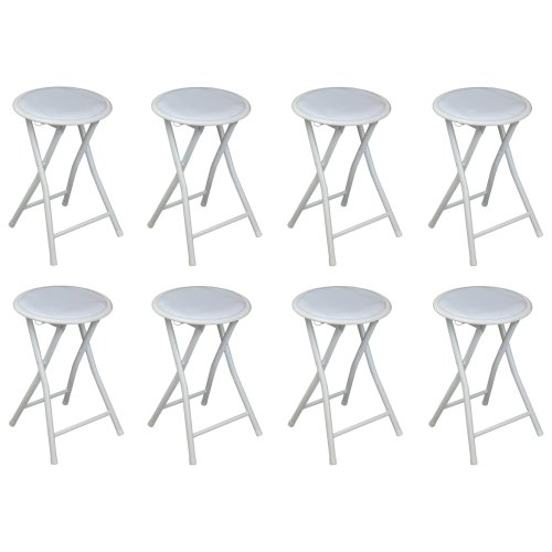 Harbour Housewares Round Compact Folding Stool - White - Pack Of 8