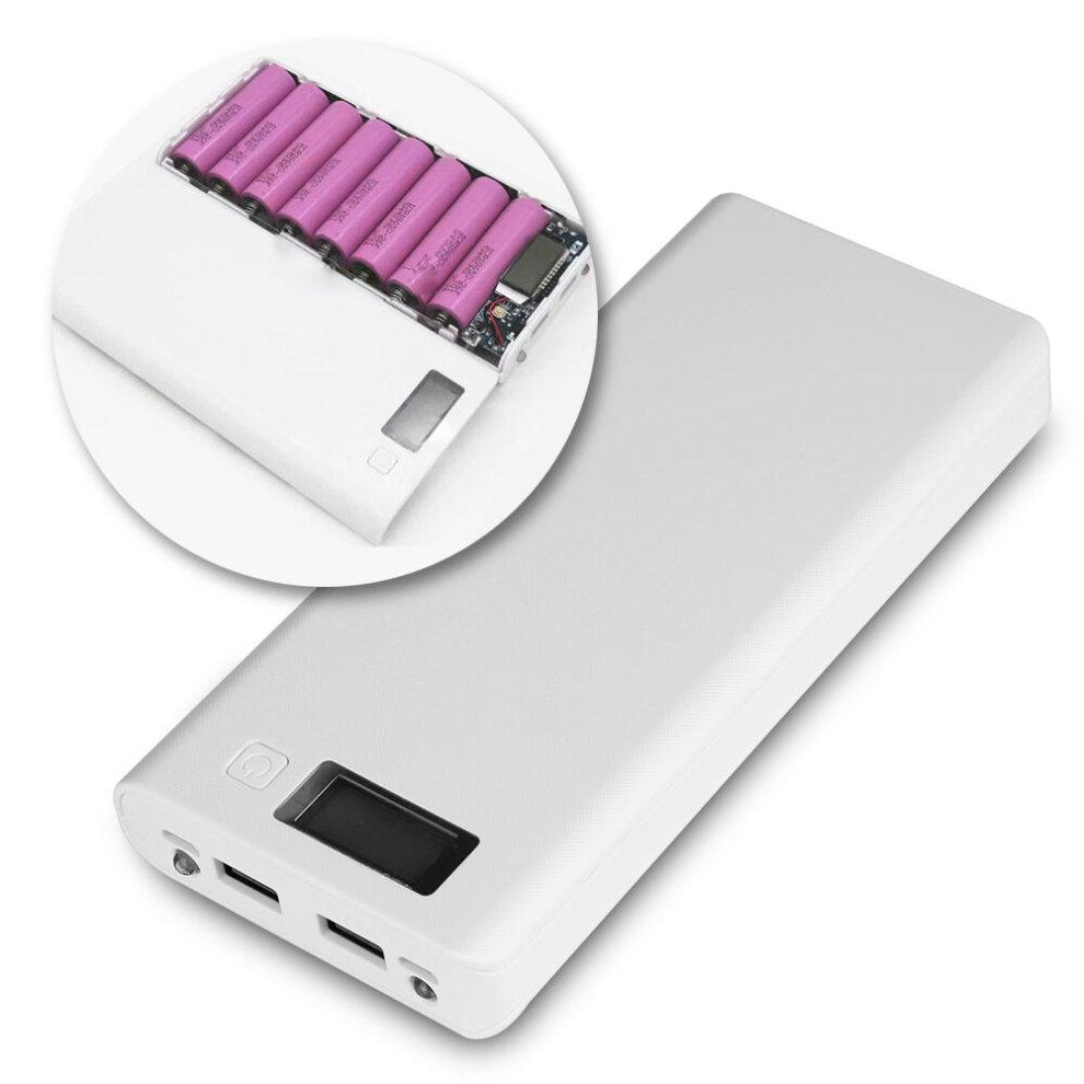 Dual USB LCD Display Power Bank Backup 18650 Battery Charger Box Case