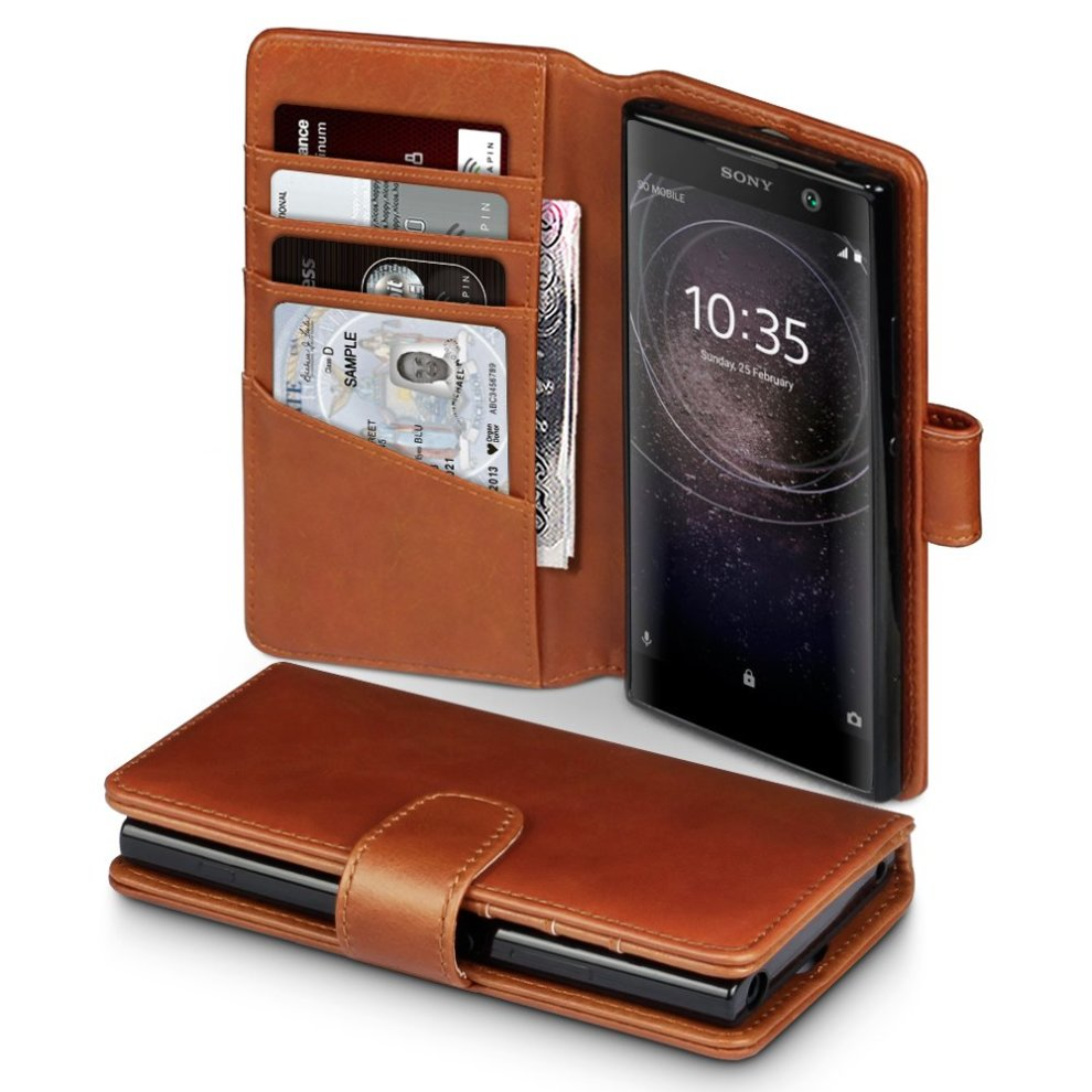 innovative design b7eb5 53acc TERRAPIN Sony Xperia XA2 Case Sony Xperia XA2 Leather Case - GENUINE  LEATHER - Executive Folio Wallet Cover Flip - Viewing Stand - Card Slots  -...