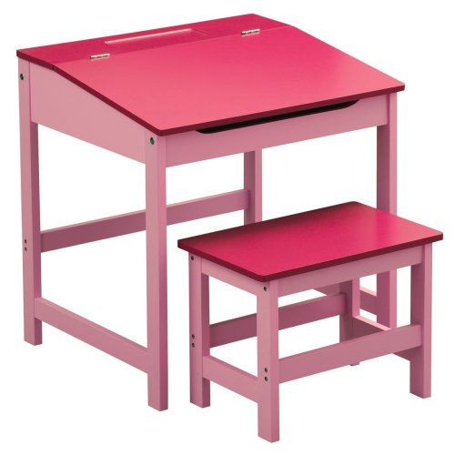 Children'S Desk And Stool Pink Sturdy MDF Suitable For Kids Room