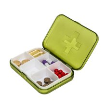 Mini Portable Sealed 6 Slots Plastic Travel Pills/Vitamins Box Organizer Green