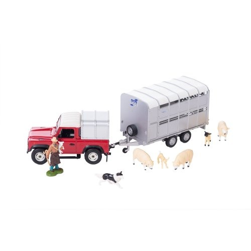 Britains 1:32 Sheep Farmer Playset - Includes Land Rover 90 and Trailer, Farmer, Sheep and Sheepdog - Collectable Farm Toy - Suitable From 3 years