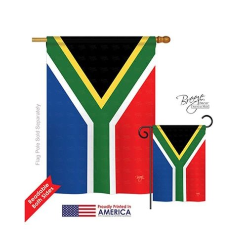 Breeze Decor 08208 South Africa 2-Sided Vertical Impression House Flag - 28 x 40 in.