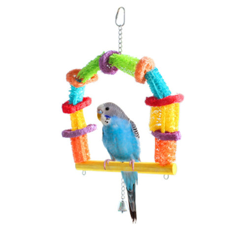Distinctive Shapes Bird Ring,15.5 by 9-Inch Swing Durable Loofah Bird Toy
