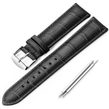 iStrap 20mm Genuine lether Watch Strap Alligator Pattern Watch Band -Black