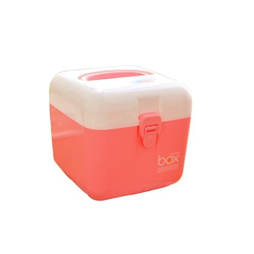 The Plastic Two-layer Household medicine chest/Storage Box(Pink Small one)