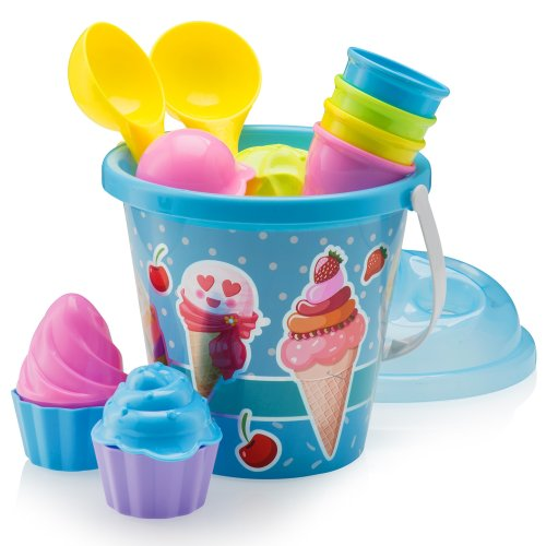 TopRace Beach Set, Ice Cream and Cake Series Mold Set, 14 Piece set with Large 9 Inch Ice Cream Bucket