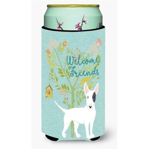 Carolines Treasures BB7607TBC Welcome Friends White Patched Bull Terrier Tall Boy Beverage Insulator Hugger