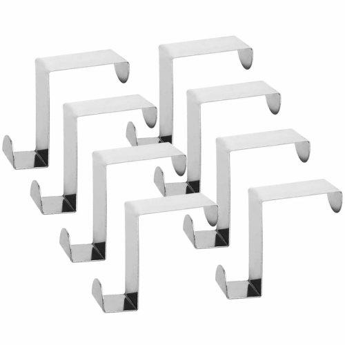 Qliver Over Cupboard and Drawer Hooks,Over Door Metal Hooks Hanger Stainless Steel Reversible Hooks - Set of 8