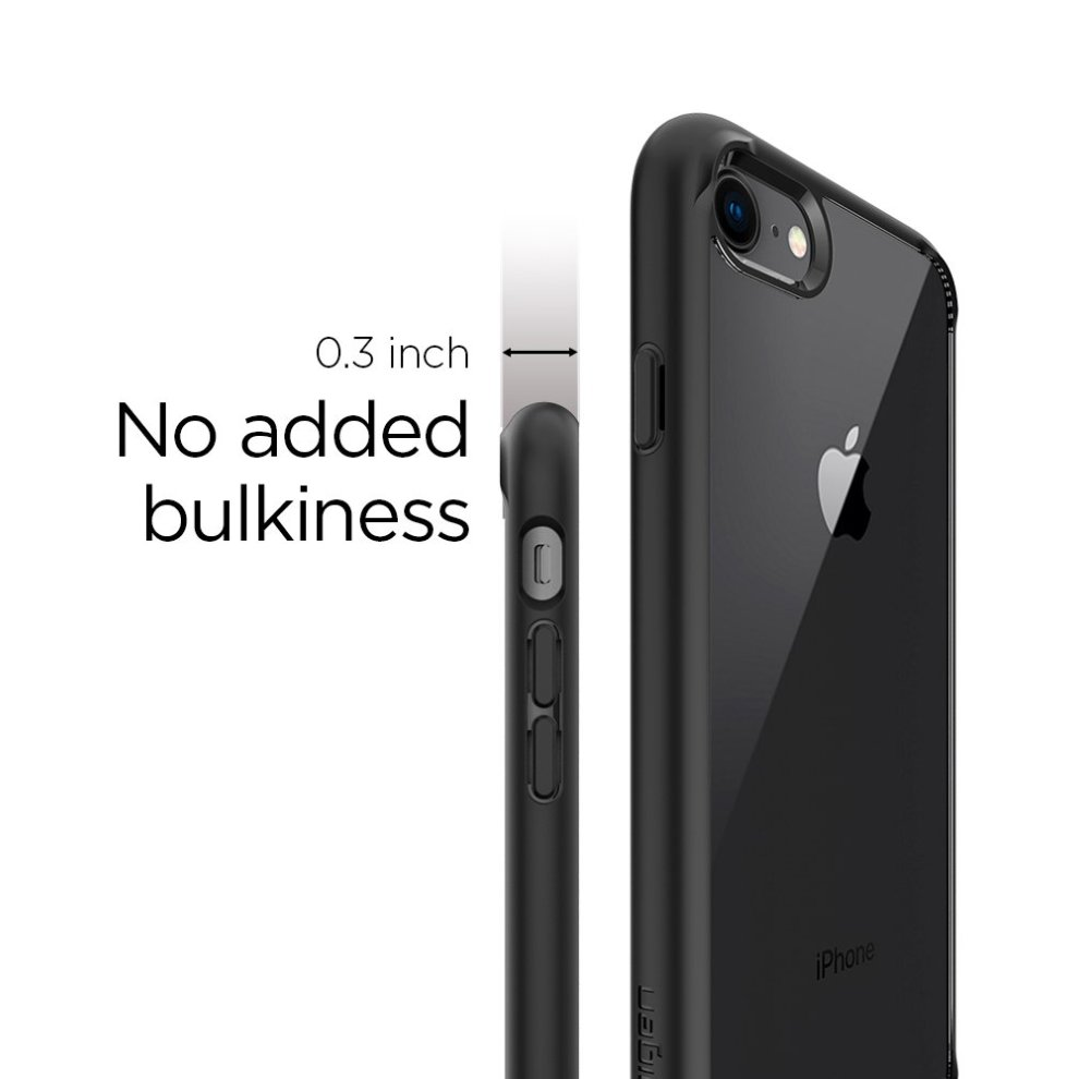 new arrival 6b2dd 1ddff iPhone 7 Case, iPhone 8 Case, Spigen [Ultra Hybrid 2] Reinforced Camera and  Button Protection [Black] Second Generation of Ultra Hybrid One-Piece...
