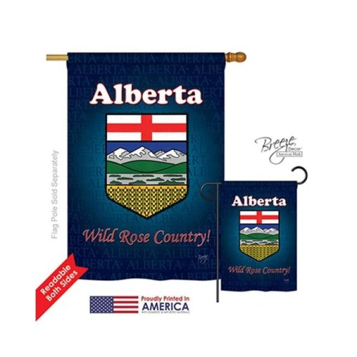 Breeze Decor 08166 Canada Provinces Alberta 2-Sided Vertical Impression House Flag - 28 x 40 in.