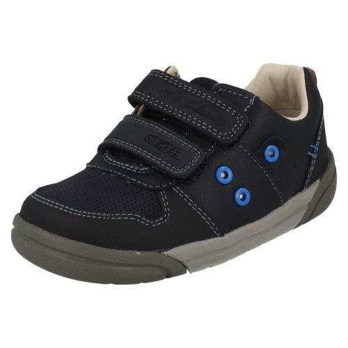Boys Clarks Casual Shoes Lilfolk Pop - Navy Leather - UK Size 9H - EU Size 27 - US Size 9.5XW