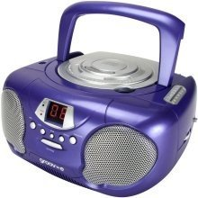 Groov-e Boombox Portable CD Player with Radio and Headphone Jack Purple GVPS713PE