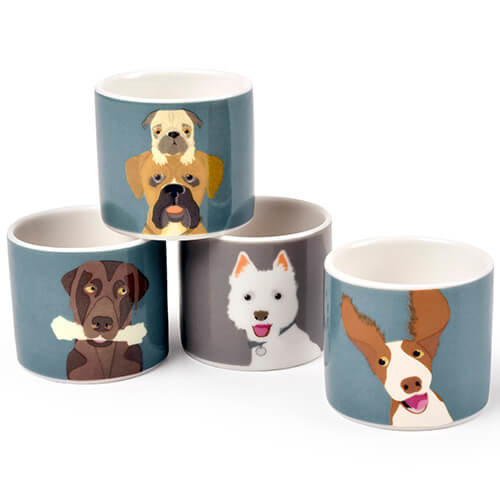 Burgon & Ball Creaturewares The Rabble Dog Set of 4 Fine China Egg Cups