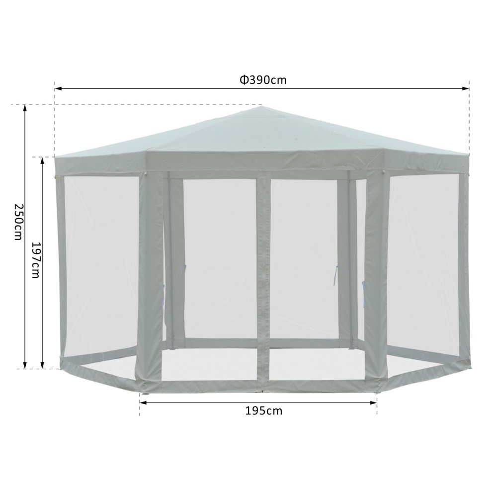Outsunny Netting Gazebo Hexagon Tent Canopy Outdoor Shade Water Resistant Creamy White